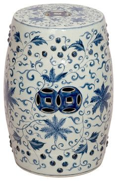 Round Blue and White Lotus Flowers Ceramic Garden Stool Seat asian-ottomans-and-cubes