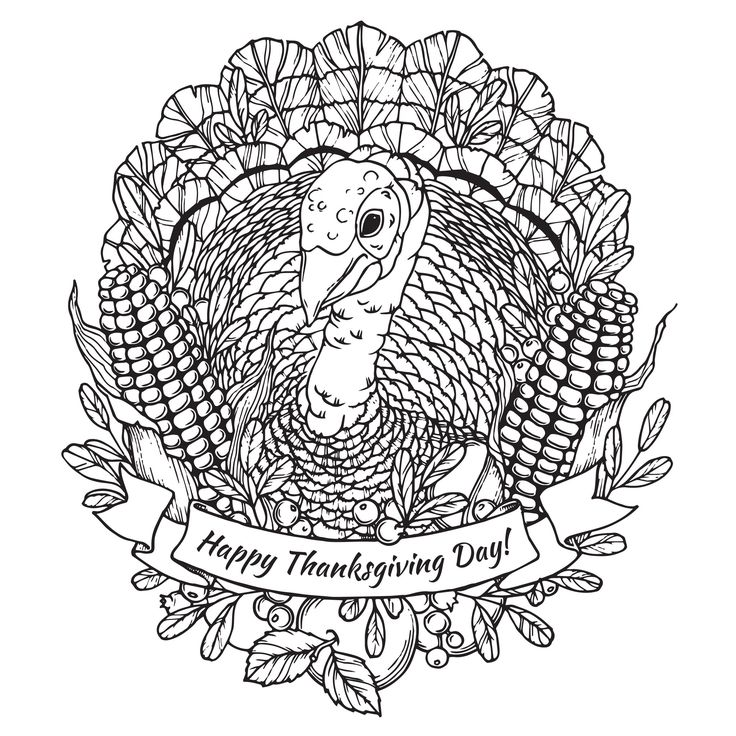 Thanksgiving day coloring page with turkey vegetables corn and fruits from