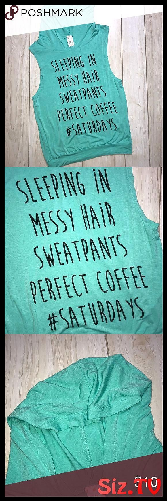 Messy Buns Lazy Days Blue Hooded Muscle Tank Soft Lightweight Tank Hooded Says Sleeping In Messy Hair Sweatpants Perfect Coffee Saturdays Messy Buns L...