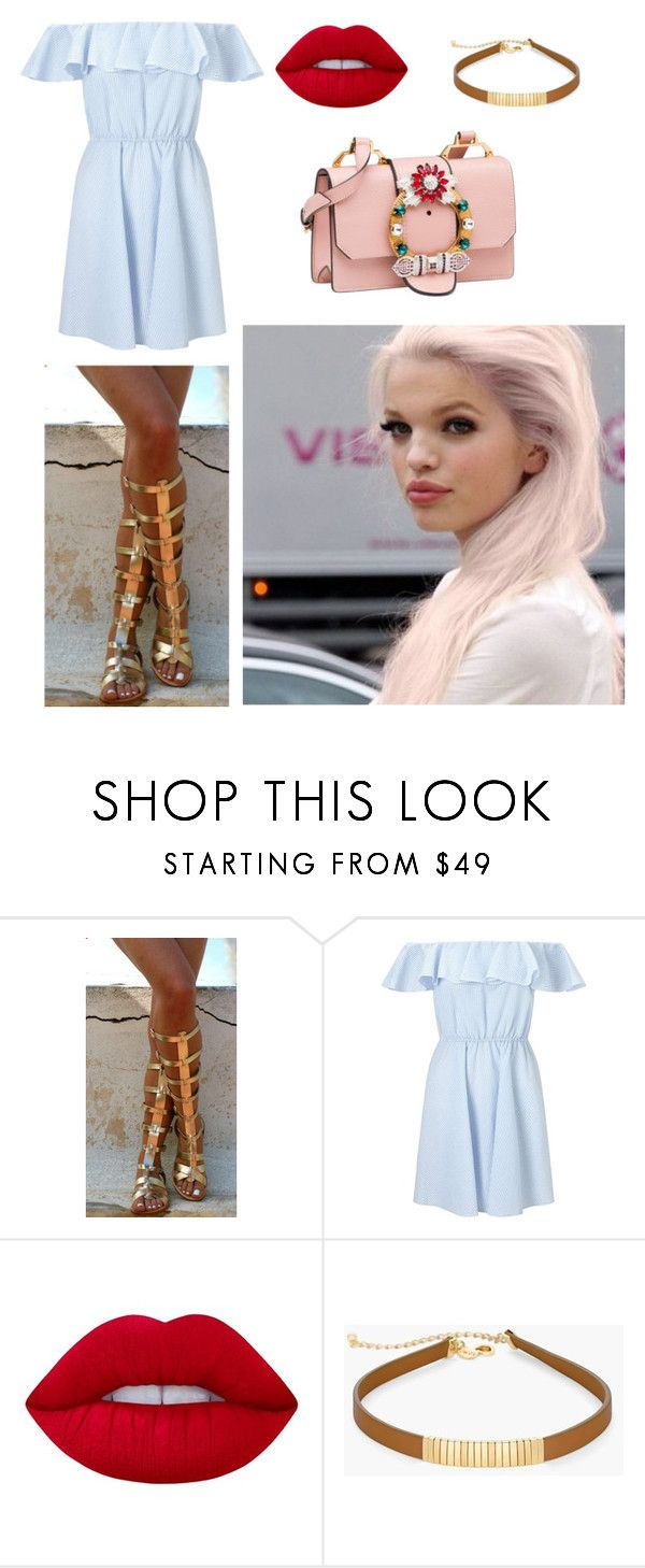 """""""Untitled #2855"""" by laiaespimonter ❤ liked on Polyvore featuring Ancient Greek Sandals, Miss Selfridge, Lime Crime, Chico's and Miu Miu"""