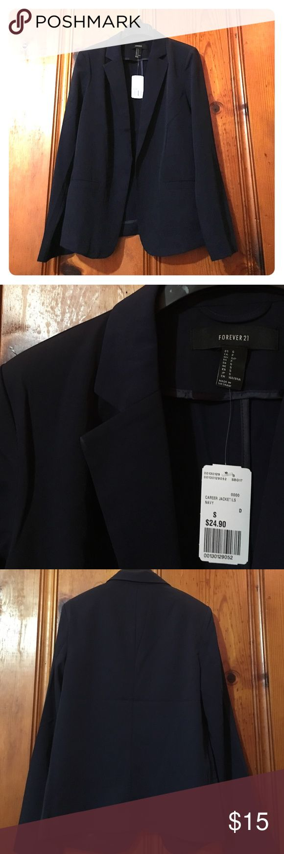 NWT navy career jacket Long sleeve navy blue blazer with no button closure. Two functional front pockets. Forever 21 Jackets & Coats Blazers