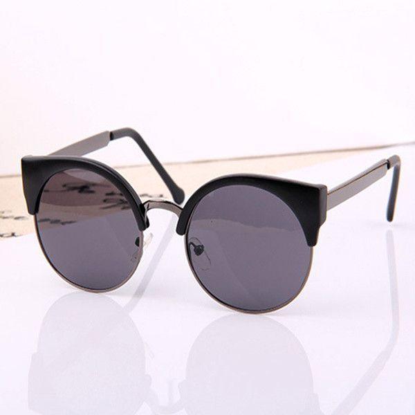 Retro Designer Edition, Cat Eye Semi-Rimless Vintage Women Sunglasses