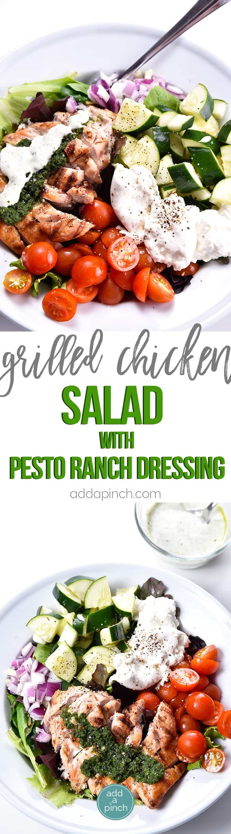 Grilled Chicken Salad with Pesto Ranch Dressing Recipe makes a delicious salad with cucumbers, tomatoes, onion, mozzarella topped with grilled chicken and a pesto ranch dressing! // addapinch.com