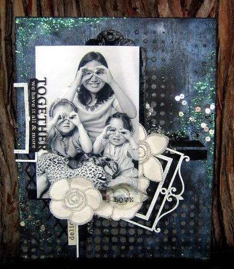 Together Portrait Canvas - Scrapmatts chipboards & stencil, Prima Flowers, Junkyard Findings, Art Basics & Art Ingredients