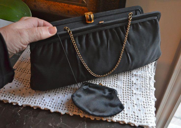 LITTLE BLACK BAG! Vintage Formal Evening Bag Black Designer Satin Clutch Purse Matching Change Purse Chain Handle Jewel Studded Gold Clasp by StudioVintage on Etsy