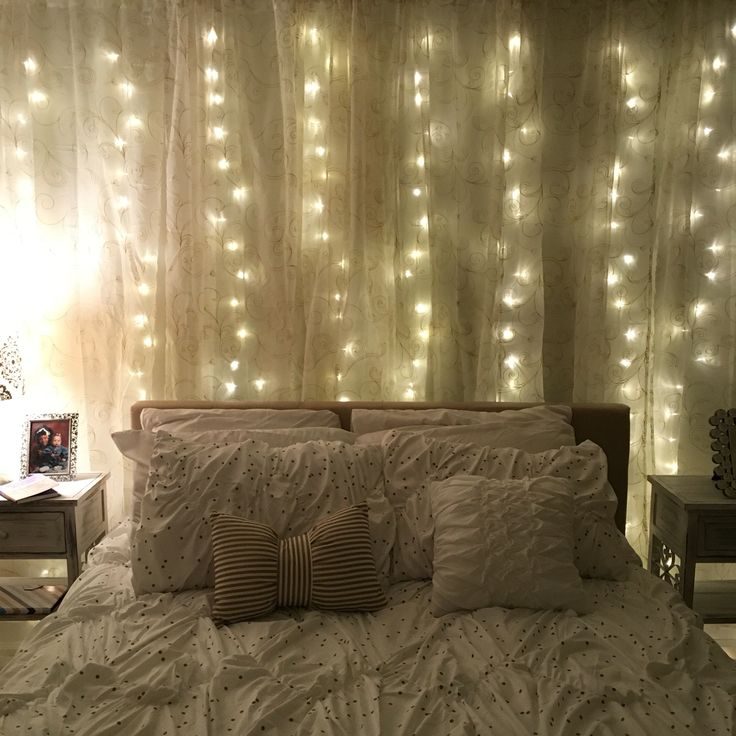 DIY curtain lights. Lights are from Amazon and curtains are from Walmart.
