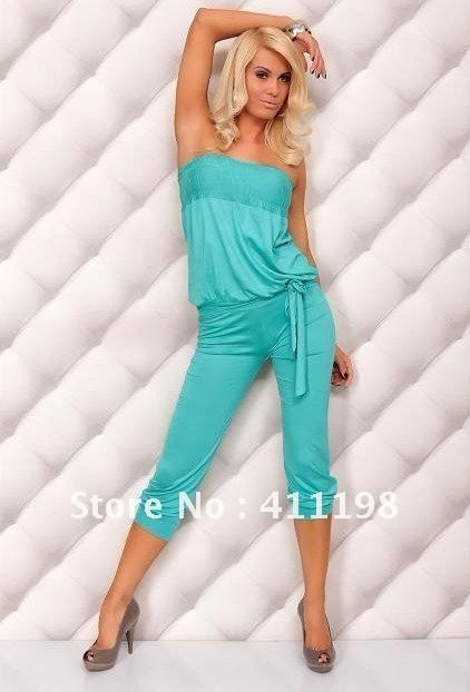 aolover woman Sexy Jumpsuits with belt 1356 white, black, 12 colors wholesale Rompers lady overalls $11.50 (free shipping)