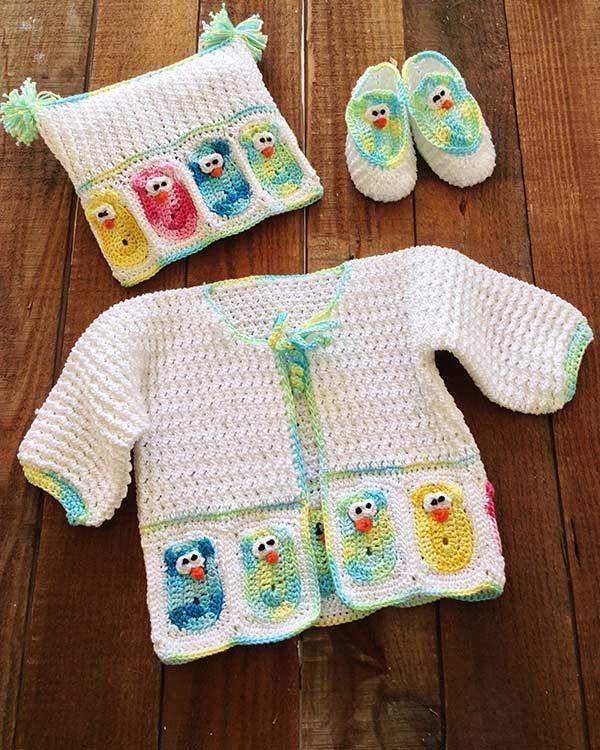 Baby Owl Layette Crochet Pattern