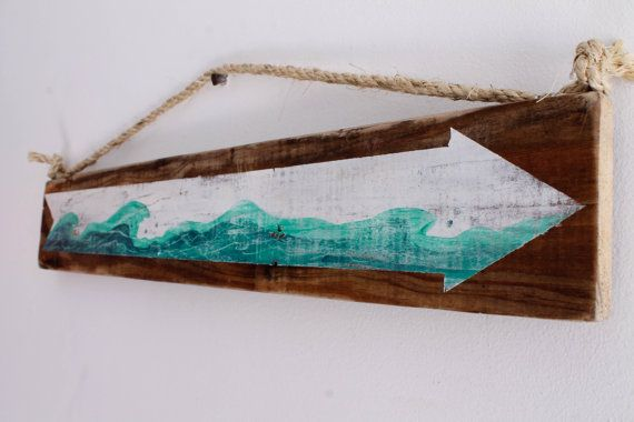 Wave Beach Sign with White Arrow on Reclaimed Distressed Wood Coastal Beach Baby Nursery Surf Baby Nursery Kids Room Beach House Decor on Etsy, 26,34 €