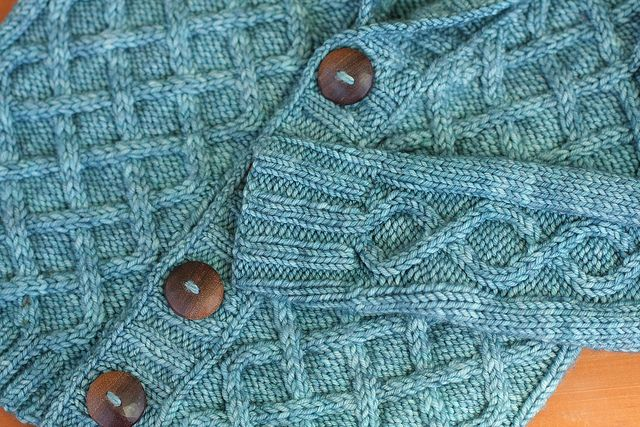 Gramps Sweater by Frontier Dreams with WoolyMossRoots Buttons in black walnut wood.