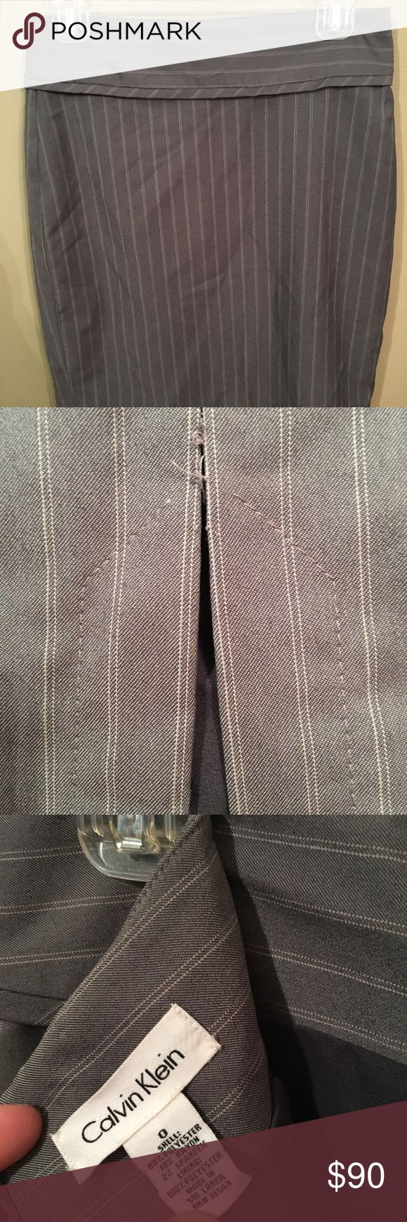 Three piece Calvin Klein factory suit. Beautiful suit, not worn very often. Look at pics for the skirt flaw. Skirt is lined. Pants unlined. Calvin Klein Other