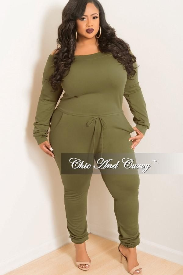 4e05e54f13a Plus Size Off the Shoulder Jumpsuit with Tie in Olive – Chic And Curvy