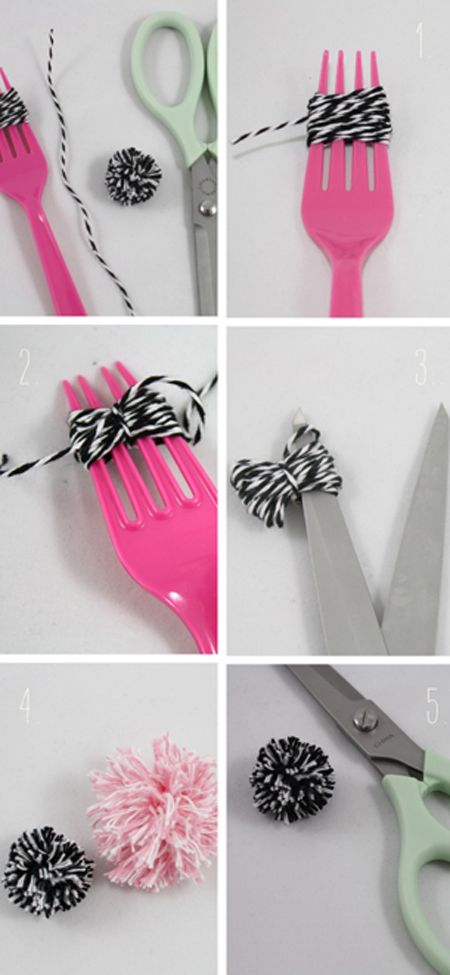 Pom Pom DIY: Baker Twine, Pom Poms, Forks, Crafts Ideas, Pom Pom Tutorials, Minis Dog Qu, Diy Crafts, Minis Pompom, Cat Toys