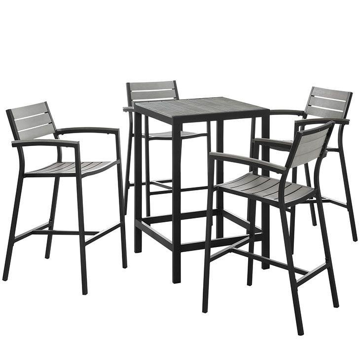 Modway Furniture Modern Maine 5 Piece Outdoor Patio Bar Set