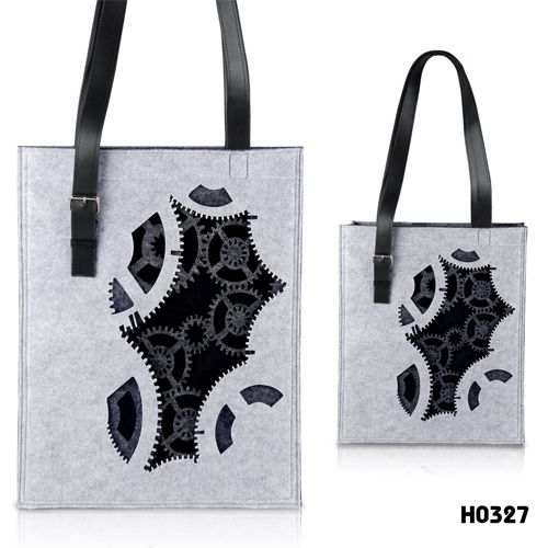 gear pattern# felt tote bag #, cool shopping bag from @2087