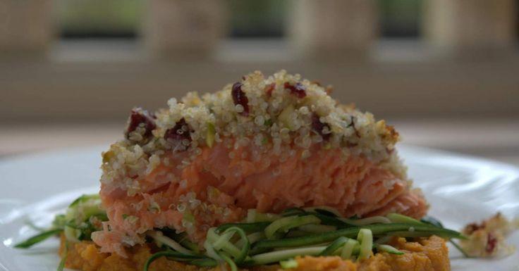 Quinoa Crusted Salmon with Sweet Potato Mash and Zucchini Ribbons