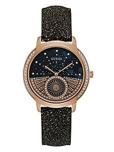 Black and Rose Gold-Tone Celestial Watch   GUESS.ca