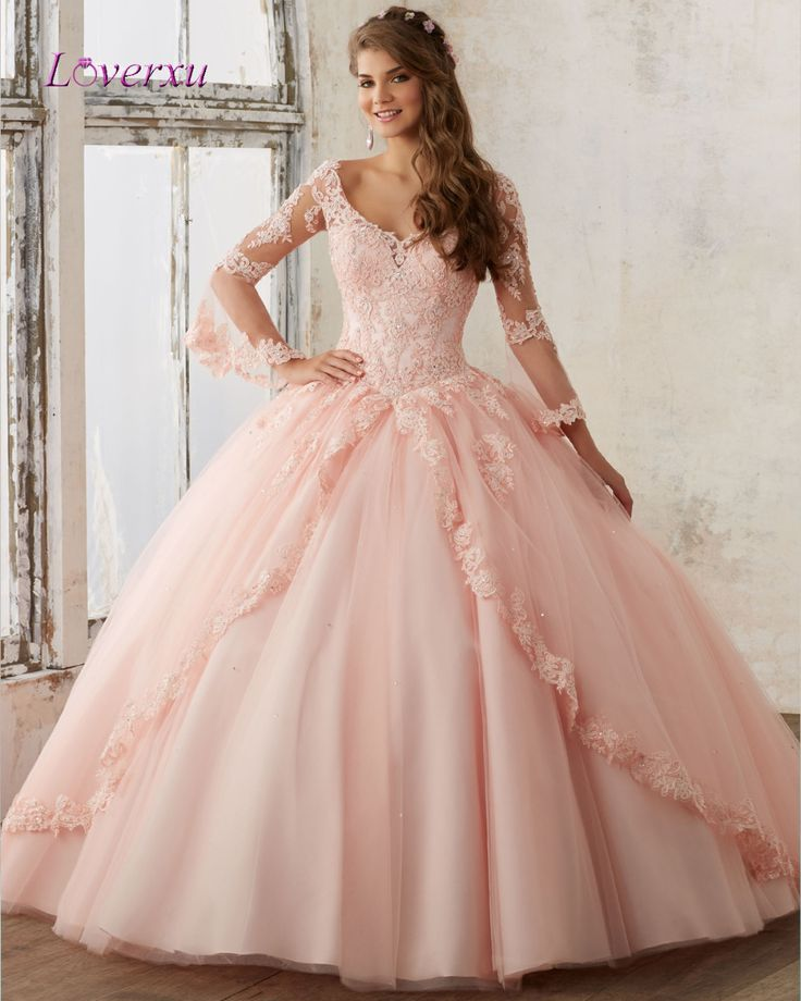 Loverxu Elegant Long Sleeve Ball Gown Quinceanera Dress 2017 Appliques Beaded Scalloped Debutante Gown Plus Size Sweet 16 Dress