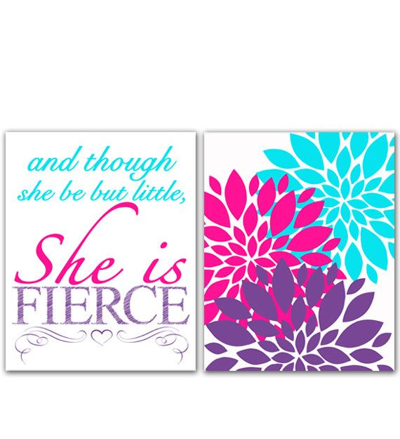 Pink Purple Aqua Wall Art And Though She Be But Little She is Fierce Flower Bursts Decor Nursery Art Prints (167ab)