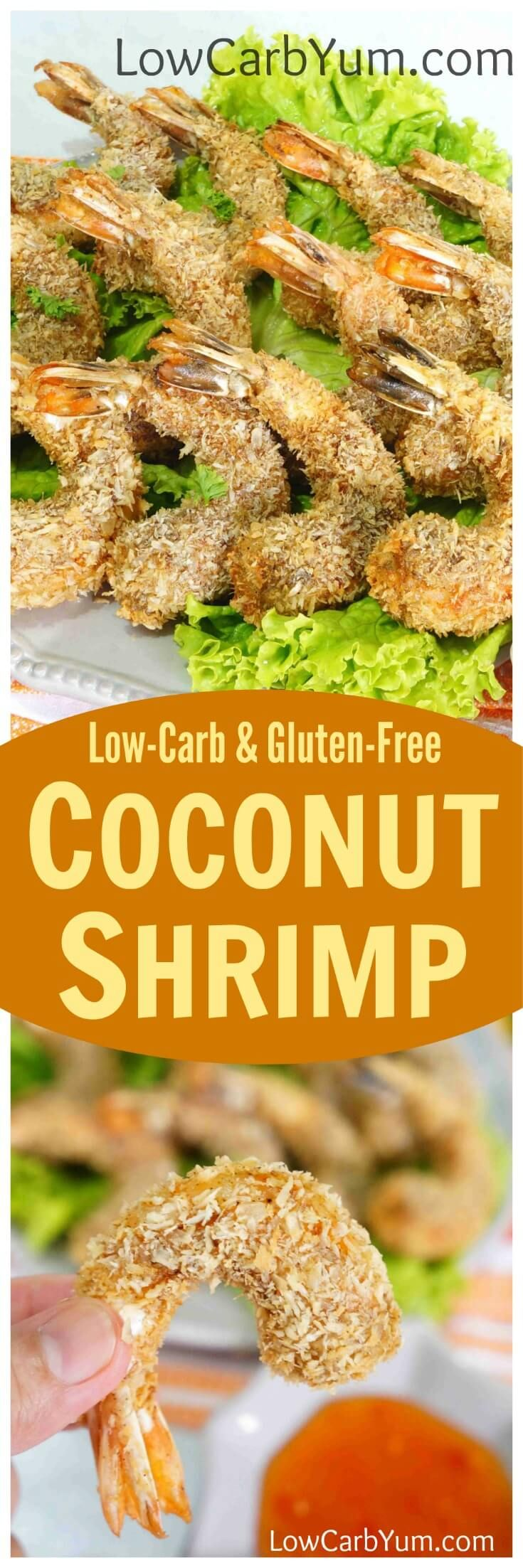 싱 싱 노련한 코팅 맛있는 저탄수화물과 글루텐 무료 코코넛 새우 요리법.  그것은 어떤 파티 또는 게임 날을위한 완벽한 전채입니다!
