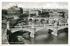 Italy 1930s Real Photo Postcard Roma Rome - Ponti sul Tevere bridges panorama