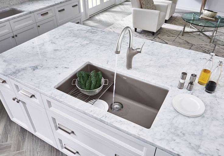 *NEW* Accessory: Floating Grid | *NEW* Faucet: BLANCO ARTONA™ in Stainless Finish/Truffle | Sink: BLANCO PRECIS™ U SUPER SINGLE in Truffle