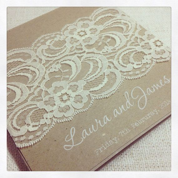 Rustic vintage lace wedding invitation with white ink