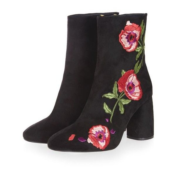 Topshop Madame Embroidery Boots found on Polyvore featuring shoes, boots, ankle booties, short boots, high heel shoes, embroidered boots, black bootie and topshop boots