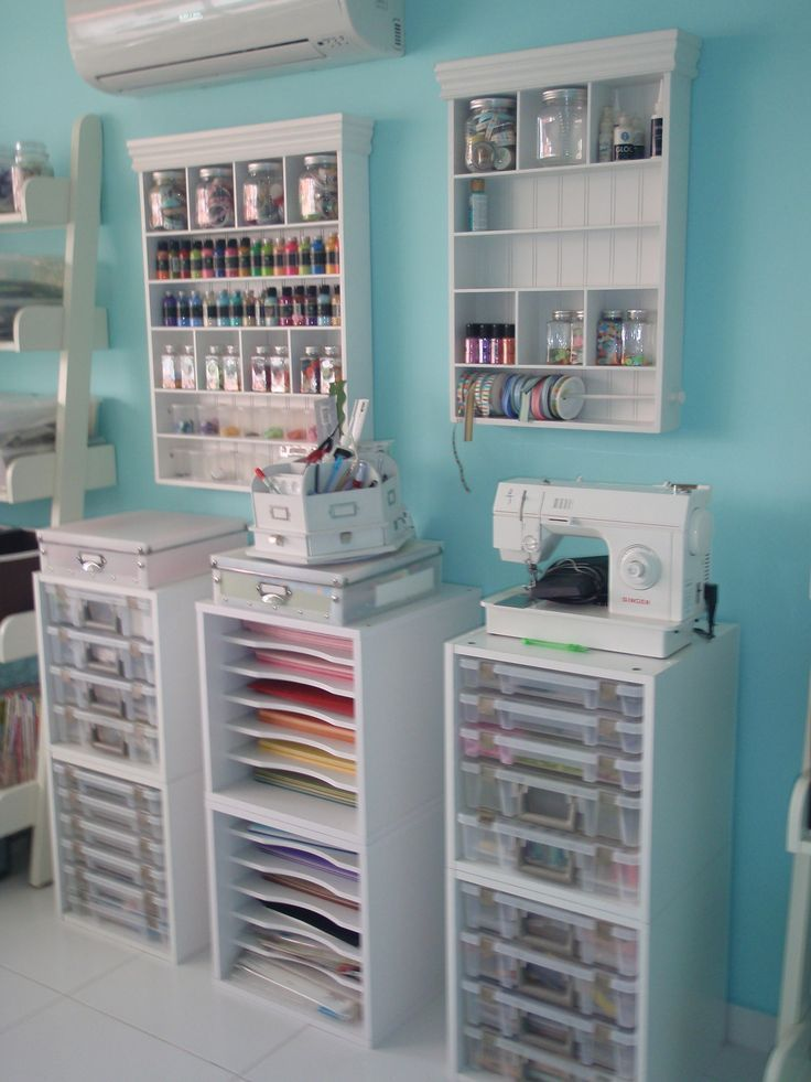 #papercraft #craftroom #organization. Scraproom: papers, sewing machine, paints