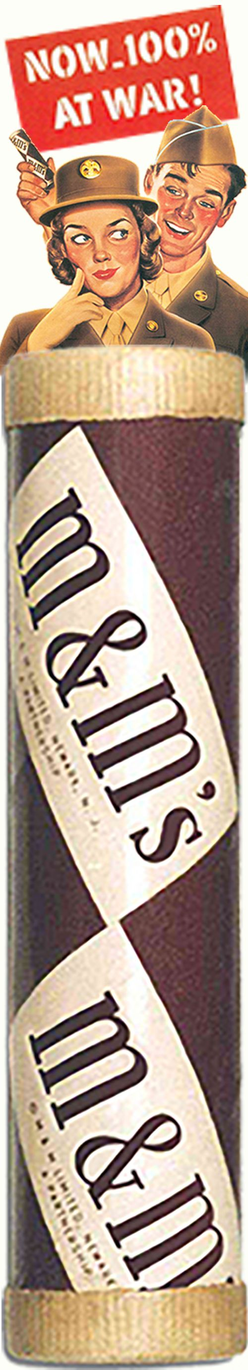 03 Mar 41: The Mars Company receives a patent for their process of producing M&M chocolate pellets within a candy shell which, during the war, will be exclusively sold to the US military ~