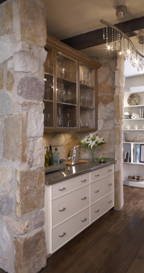 love this mix of elements...: Butler Pantries, Wet Bar, Bar Design, Abraham Architecture, Traditional Kitchens, Pantries Design, Stones Wall, Bar Area, Culligan Abraham
