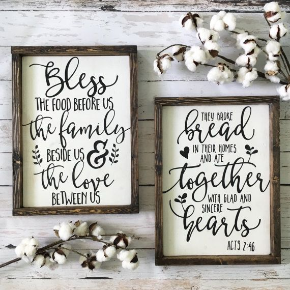 Bless the food before us, the family beside us, and the love between us. A gorgeous and neutral framed wood sign that would make a perfect addition to the kitchen or dining room! Handmade on high quality wood, white-washed/distressed and framed in a dark walnut finish for a