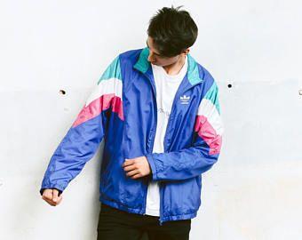 Vintage Adidas Blue Jacket . Men's 90s Windbreaker Zip Up Shell Jacket Sports Jacket Activewear Sportswear Rave Party Jacket . size XL