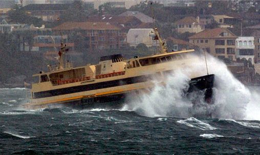 Sydney Harbour Ferry Queenscliff crosses The Heads on stormy day