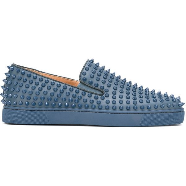 Christian Louboutin 'Roller-Boat' spiked trainers (1,365 CAD) ❤ liked on Polyvore featuring men's fashion, men's shoes, men's sneakers, blue, mens spiked sneakers, mens leather sneakers, mens leather shoes, mens spiked shoes and christian louboutin mens sneakers