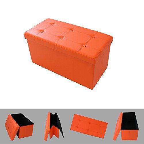 stunning todeco u pouf coffre de rangement pliable orange. Black Bedroom Furniture Sets. Home Design Ideas