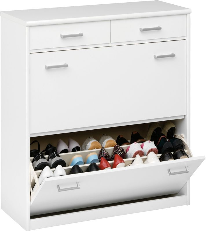 Kommode, byggbar garderobe eller nattbord til soverommetSoft skoskap 932 klaff til 30 par sko-2 skuff Hvit B87 D36 H97