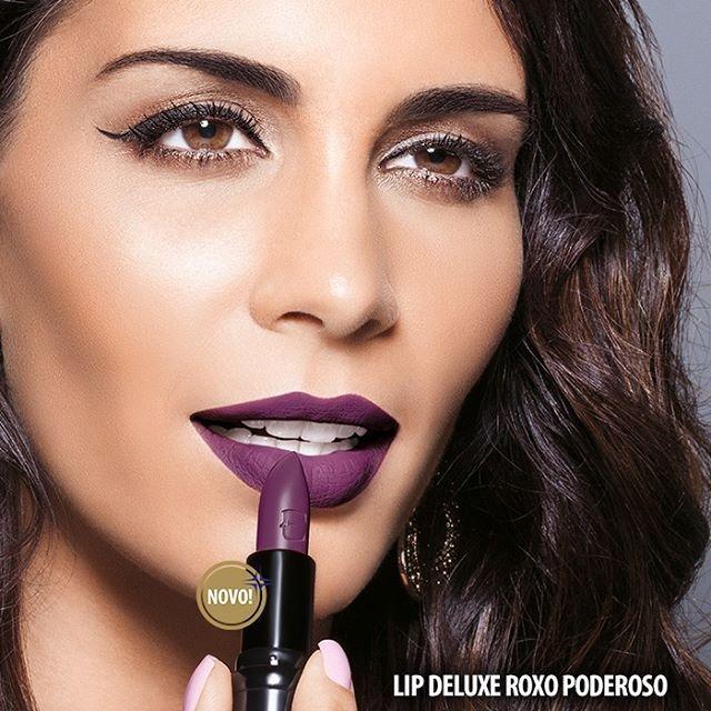 Arrase com o novo batom Lip Deluxe cor Roxo Poderoso! Apenas R$35,99. Encontre com uma de nossas Representantes. #Eudora #RoxoPoderoso