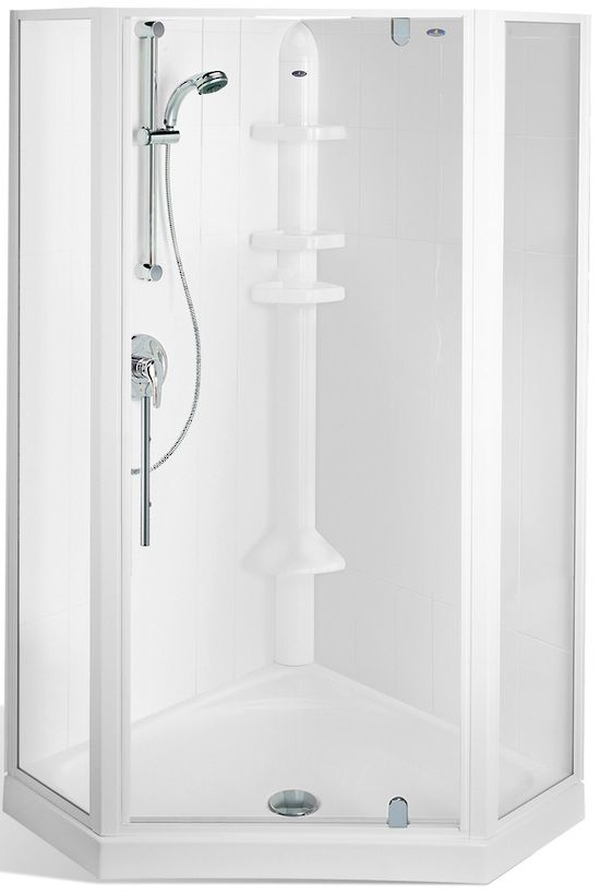 Englefield Valencia Angle Corner Shower 3 sided glass pannel shower, white or chrome frame option, different sizing options, includes tray and liner. http://www.plumbin.co.nz/shop/showers/valencia_angle.html