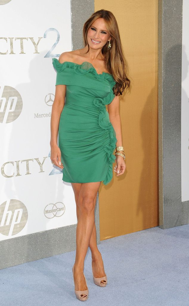 Gorgeous in Green from Melania Trump's Best Looks  In Catherine Malandrino at the Sex and the City 2 premiere in 2010