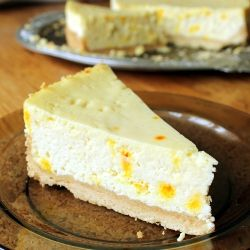 Saffron cheesecake with yellow dots (in Polish)