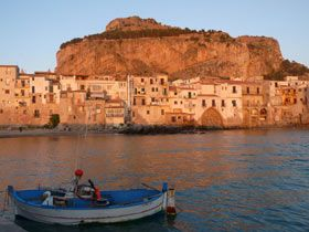 Cefalù harbour at sunset