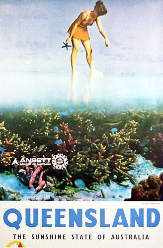 Ansett poster promoting Queensland's Great Barrier Reef - circa 1970's #whitsundays