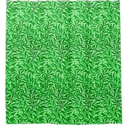 William Morris Willow Bough Emerald Green Shower Curtain - home decor design art diy cyo custom