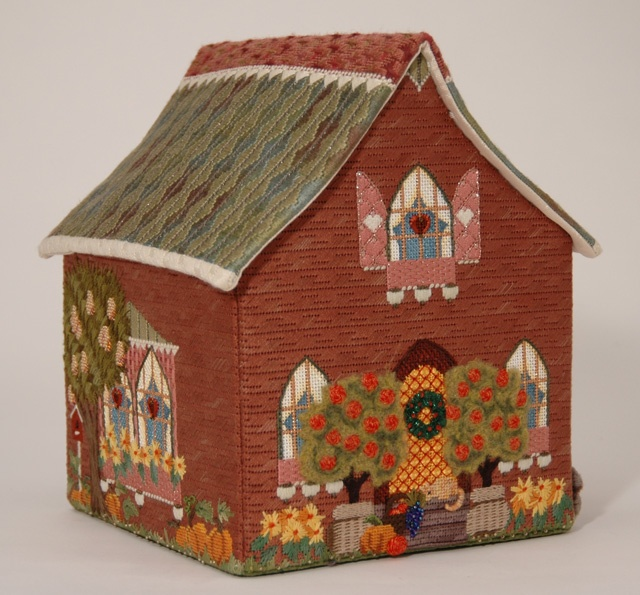 Amy Bunger Melissa Shirley Home Study - Fall House; Includes 5 pieces painted canvas, stitch guide, all threads. Sold with set of four houses; Retail $1,940; Sale $950. To reserve the set, contact Pamela Harding at Needlearts@comcast.net.