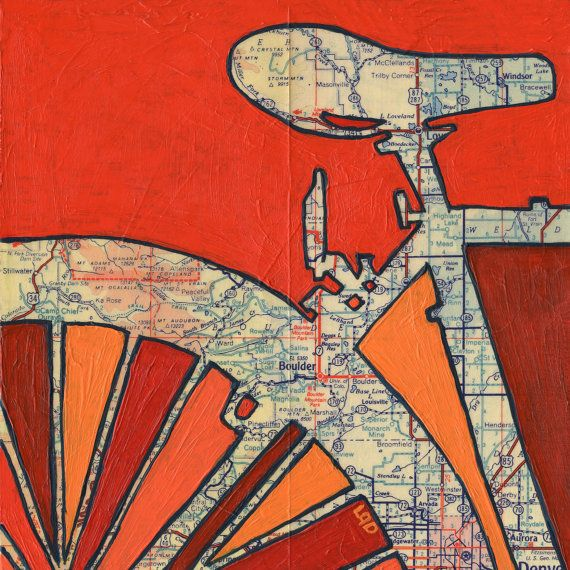Bike Boulderbicycle art on a vintage Colorado map by OffTheMapArt, $17.00