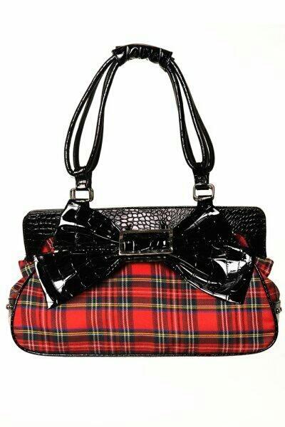 Rocking this red tartan handbag