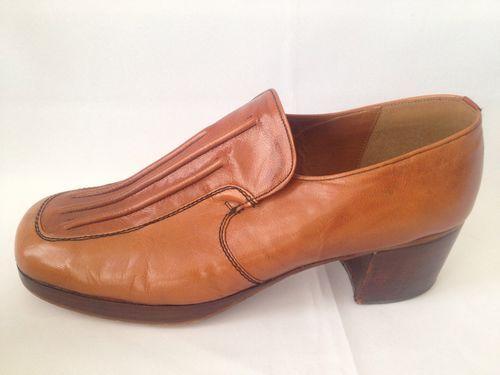 vintage 70s mens leather platform disco shoes size 13