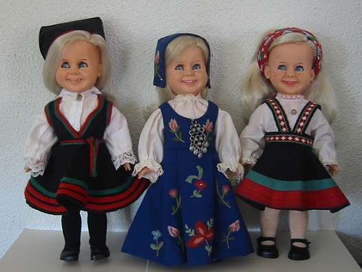 Tjorven doll dressed in national costumes. I loved this doll!