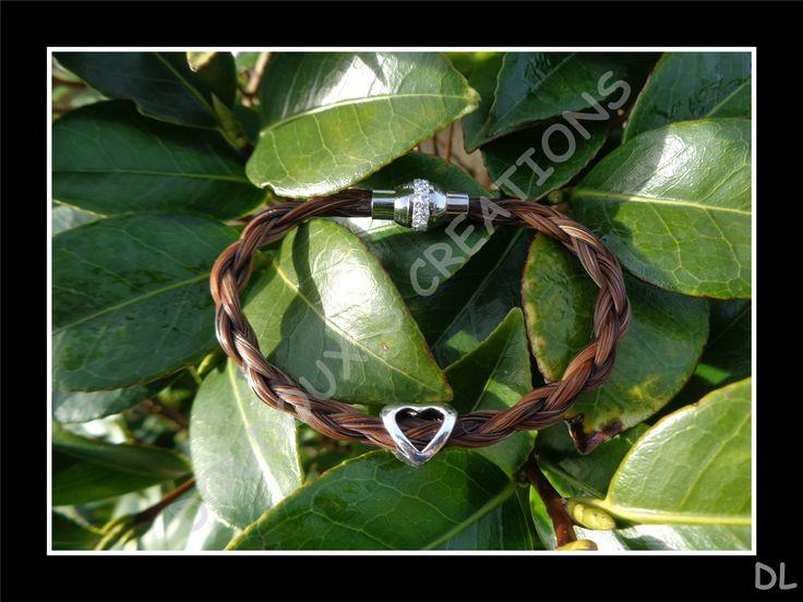 """Bracelet en véritables crins de cheval alezans, tressé """"en corde"""" à 4 brins, fermoir magnétique en acier inoxydable à strass, perle : Bracelet par doudoux-crins"""